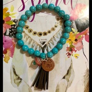Jewelry - TURQUOISE STRETCH BRACELET with LEATHER TASSEL